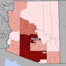 Map of mesothelioma deaths in Arizona