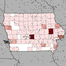 Maps of asbestosis and mesothelioma deaths in Iowa