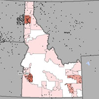 Map of asbestosis and mesothelioma deaths in Idaho
