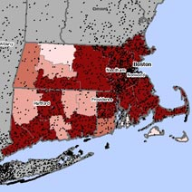 Map of asbestosis and mesothelioma deaths in Massachusetts
