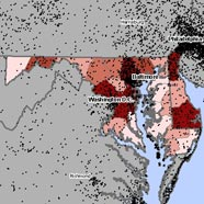 Map of asbestosis and mesothelioma deaths in Maryland
