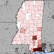 Map of asbestosis and mesothelioma deaths in Mississippi