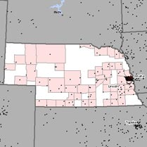 Map of asbestosis and mesothelioma deaths in Nebraska