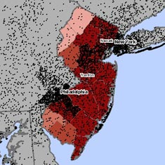Map of asbestosis and mesothelioma deaths in New Jersey