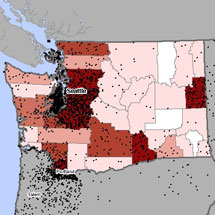 Map of asbestosis and mesothelioma deaths in Washington